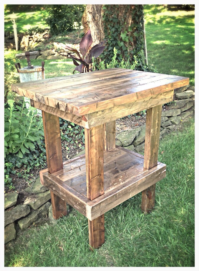 Handmade rustic side table/kitchen island