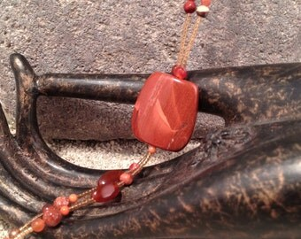 Gypsy long necklace - large boho necklaces - orange boho necklace - boho necklace - beaded necklace - Orange tassel necklace