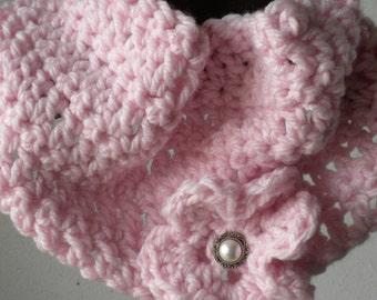 Crocheted Pink Cowl, Ladies Cowl, Neckwarmer, Women's Accessory, Women's Cowl With Flower, Pink Cowl, Crochet Cowl, Women's Cowl