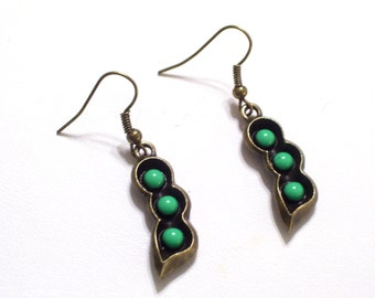 Antiqued Brass Pea Pod Earrings, Green Enamel Bronze Vegetable Jewelry
