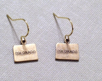 COLORADO Earrings, Gold Colorado State Earrings, Small Gold Brass COLORADO State Charm Earrings, Gold Plated Ear Wires, Colorado Jewelry