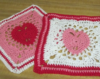 Crochet Dishcloth,Washcloth,Cotton Dishcloths,Heart Dishcloths,Hearts,Valentines,Kitchen,Retro Dishcloths,Housewares,Set of two,Gifts