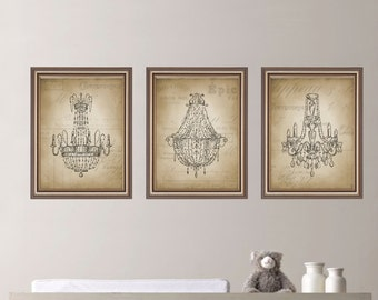 Vintage Chandelier  Print Trio - Home. Decor. Nursery. Girl - You Pick the Size & Colors (NS-137)