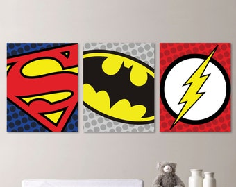 Baby Boy Nursery Art - Superhero Nursery Art - Superhero Bedroom Art - Superhero Bedroom Decor - Superhero Nursery Decor (NS-438)