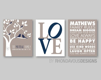 Monogrammed Family Tree Wall Print Art - Family Rules Print - Family Tree Print - Love Print - Family Wall Art - Personalized Gift  (NS-467)