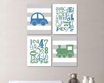 Baby Boy Nursery Art Print - Transportation Nursery Print - Alphabet Nursery Print - Nursery Decor - Blue Green - You Pick the Size (NS-523)