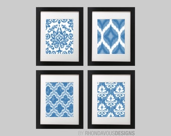 Abstract Bedroom Art Print - Ikat Art - Wall Art - Ikat Decor - Bath Art - Bathroom decor - Bathroom art - Blue - You Pick the Size (NS-638)