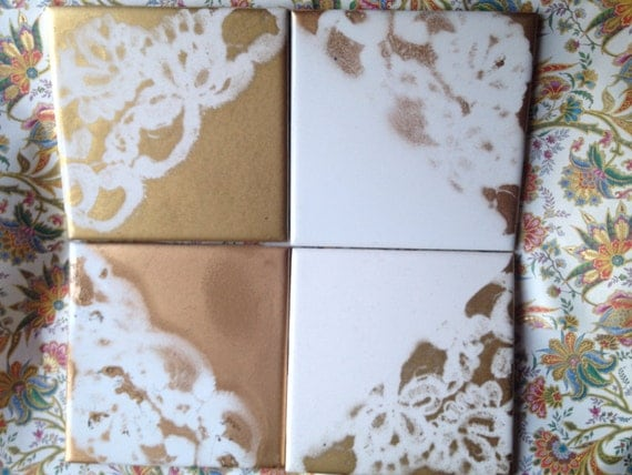 Shabby French Cottage Chic Lace Coasters