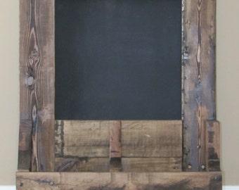Chalkboard with Storage Shelf & Key Hooks