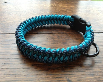 Paracord Dog Collar-Blue Spec Camo/Turquoise