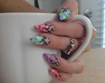 Ice Cream Cone Nails, 24 drip stiletto nails, pastel candy nails, kawaii nail art