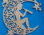FAIRY Semi-Nude Male  Man in MOON and Stars with Spyglass Wood Carving  Lace Effect --Hand made Folk Art