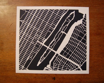 New York City, Roosevelt Island paper map cut