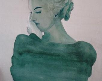 Print of Watercolor of Marilyn
