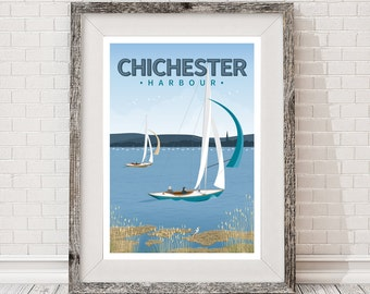 A3 retro travel poster, Chichester Harbour sailing