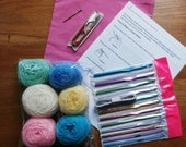 5% OFF! Beginners Crochet Kit, wool, snips. darning needle, tape measure, crochet hooks size 2-8mm, instructions,all in a drawstring bag