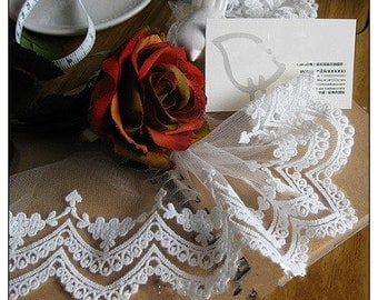 Lace Trim White Embroidery Wave Tulle Lace Trims  10cm wide 2 yards E0245