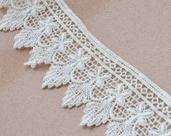 White Lace Trim, Wave Lace, Delicate  Embroidered Lace Trim 2.16''wide.  2 yards E0821