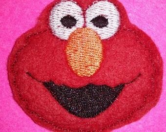 Set of 4 Sesame Street Red Monster Elmo Face Head Feltie Felt Embellishment Bow! Oversize Oversized Extra Large