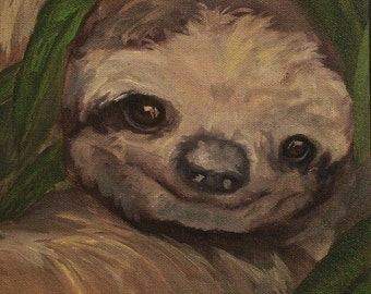 Original Wildlife Oil Painting, Three Toed Sloth, 8x8 inch canvas