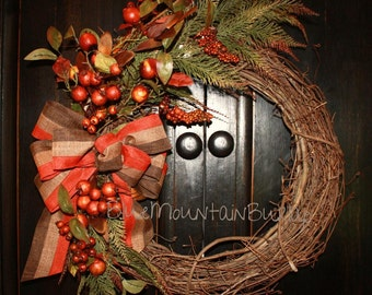The Autumn Berries Grapevine Wreath, Fall Wreath, Front Door Wreath, Primitive Wreath