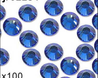 1 pack of 100 sapphire diamante. Hot fix. Size 3mm/ss10. JR02284