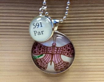 Library Card Catalog necklace Zoology with vintage illustration pink butterfly Dewey Decimal 591