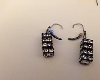 Crystal and Black Earrings