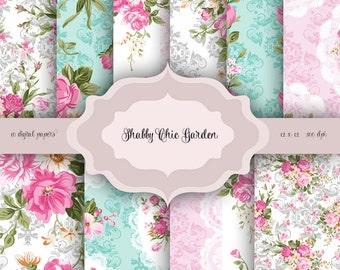 Valentines Vintage Shabby Chic Flowers Digital Paper Pack - Vintage damask floral lace pattern for scrapbooking, wedding invitations, cards