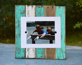 "Giant reclaimed wood frame,""Caribbean Dreaming "", for 8x10 print, rustic frame, pallet wood frame, gift,vacation photo"