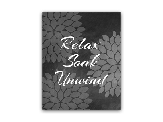 Bathroom Wall Art Black & White Bathroom Decor Relax Soak