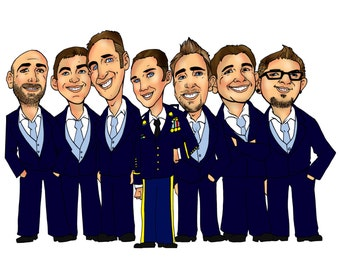 Cool Groomsen Gifts - 7 Person Groomsmen Group Caricature with White Background