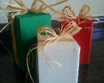 Wooden Christmas Blocks; set of 3