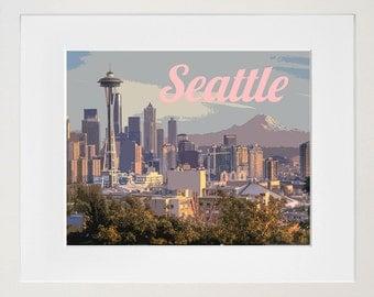 Seattle Art Travel Poster Skyline Print Home Decor (ZB4)