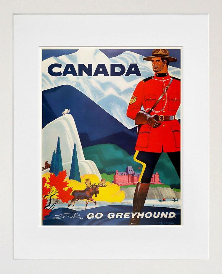 Canada Travel Poster Home Decor Mountie Wall Art By Blivingstons
