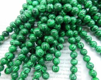 10mm imitation malachite round beads, 15.5 inch