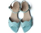 Sale! 50% off! Mint Michelle Sandals,  Handmade Leather shoes, green Shoes, Women heels sandals free shipping