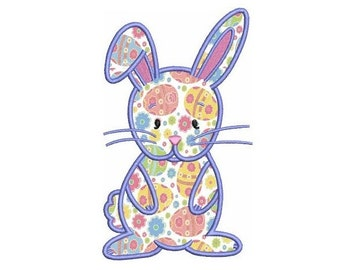 Easter Bunny Applique (Upright) Machine Embroidery Digitized  Design Pattern - Instant Download - 4x4 , 5x7, 6x10