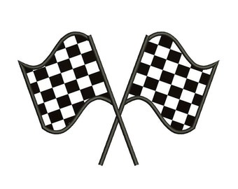 Racing Checkered Flag Applique Machine Embroidery Digitized Design Design Pattern  - Instant Download - 4x4 , 5x7, and 6x10 -hoops