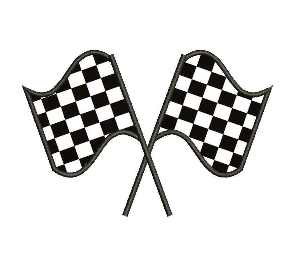 Racing Checkered Flag Applique Machine Embroidery