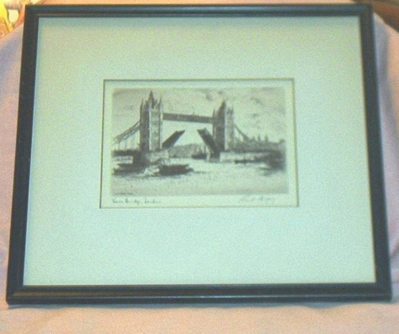 Original Etching By Cecil Forbes Of The Tower Bridge London