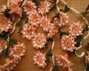 handmade needle lace flowers, peach white, traditional turkish oya flower