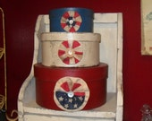 Primitive Red White and Blue Stacking Hat Boxes, Americana, USA, Vintage Flag, Vintage Buttons SCOFG