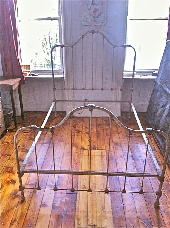 Reduced Price Antique Full Sized Cast Iron Bed Frame