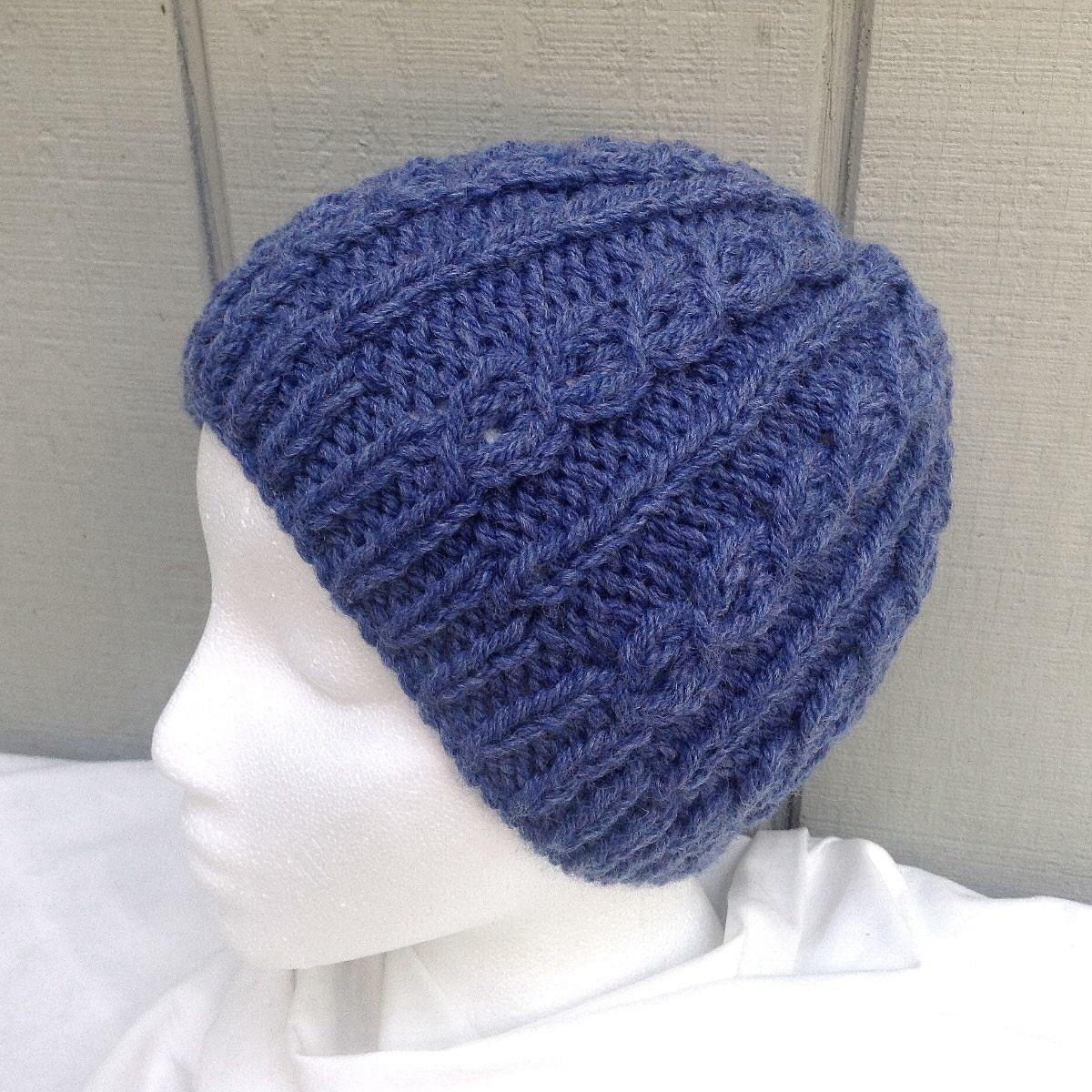 Knitted blue wool beanie Hand knit beanie Womens wool