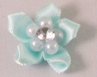 Small Men's Lapel Pin Flower - Light Blue with Crystal & Pearl Center