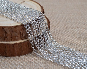 16ft of 4x3mm Round Link Silver Cable Chains,Iron Cross Chain,Small Silver Chains,Oval Link Twisted Chains-Unsoldered,Nickel and Lead Free