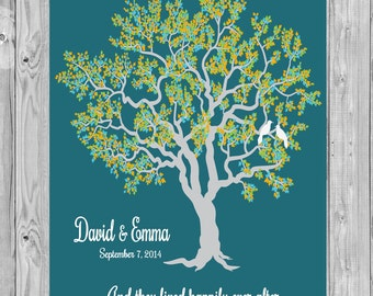 Wedding Gift, Wedding Tree Art Print, And they lived happily ever after, Wedding Tree Print Gift, Anniversary Art Print Gift 110