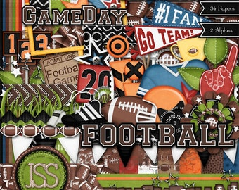 Digital Scrapbooking Kit Touchdown Football - Digital Scrapbook