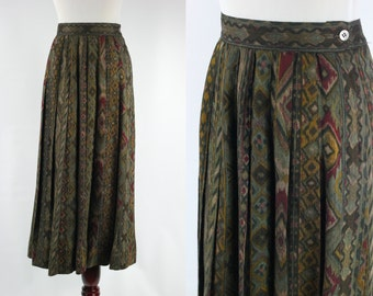 S a l e • Tribal Print Pleated High-waisted A-line Skirt